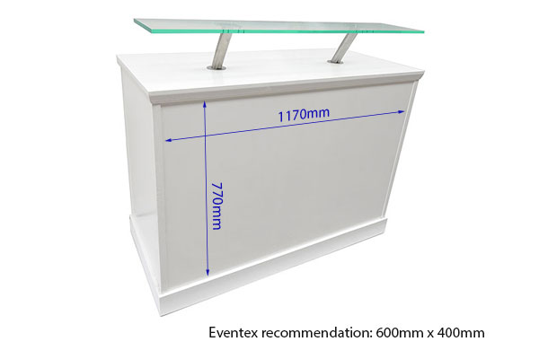 White Reception Counter With Front Perspex Shelf