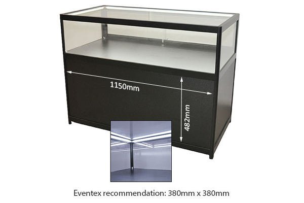Low Black Jewellery Showcase With Cabinet Hire
