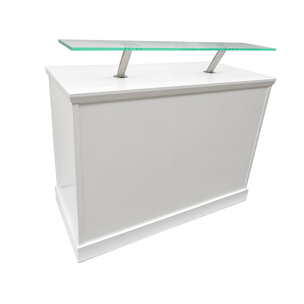 White Reception Desk With Front Perspex Shelf