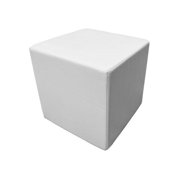 Cube Leather Stool - White