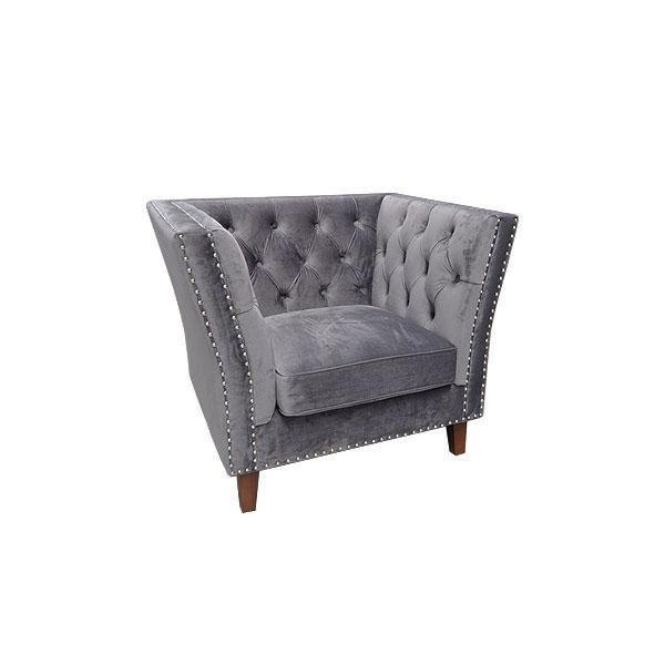 Marlborough Armchair - Grey Velour