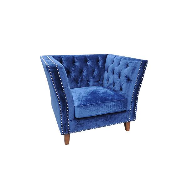 Marlborough Armchair - Blue Velour
