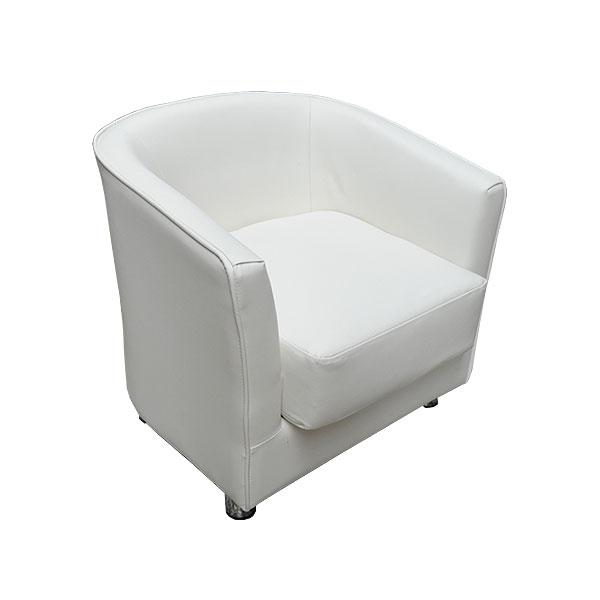 Monaco Club Chair - White Leather