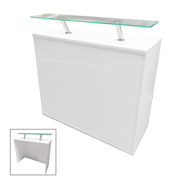 White Modular Reception Desk 500 With Perspex Shelf