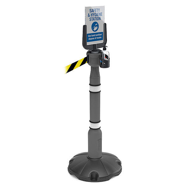 Retractable Barrier With Sanitising Station