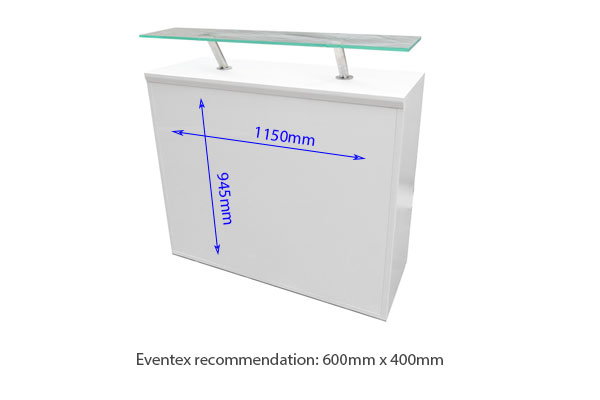 White Modular Reception Counter 450 With Perspex Shelf