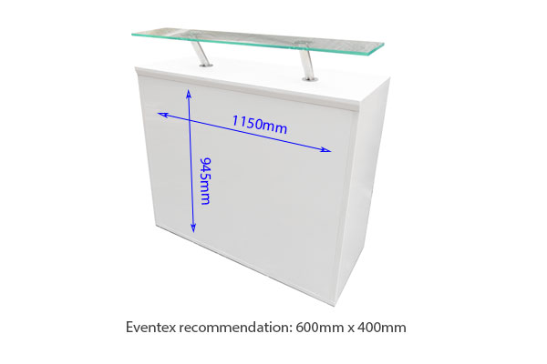 Exhibition White Modular Reception Desk 500 With Perspex Shelf